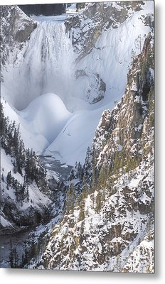 Yellowstone -  Lower Falls In Winter Metal Print by Sandra Bronstein