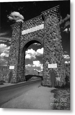 Yellowstone National Park Gate - Black And White Metal Print by Gregory Dyer