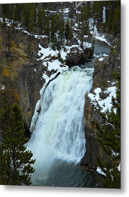 Metal Print featuring the photograph Yellowstone Upper Falls In Spring by Michele Myers