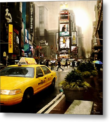 Yelow Cab At Time Square New York Metal Print by Yvon van der Wijk