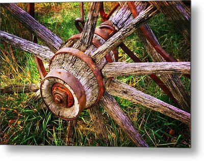 Yesterday's Wheel Metal Print by Marty Koch