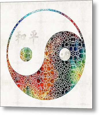 Yin And Yang - Colorful Peace - By Sharon Cummings Metal Print by Sharon Cummings