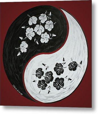 Yin And Yang Of Hibiscus  Metal Print by Chikako Hashimoto Lichnowsky