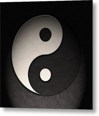 Metal Print featuring the digital art Yin Yang Symbol Leather Texture by Brian Carson