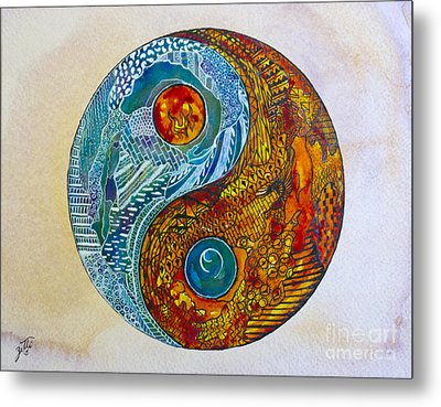 Metal Print featuring the painting Yinyang  by Suzette Kallen