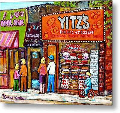 Yitzs Deli Toronto Restaurants Cafe Scenes Paintings Of Toronto Landmark City Scenes Carole Spandau  Metal Print by Carole Spandau
