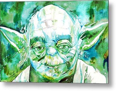 Yoda Watercolor Portrait Metal Print