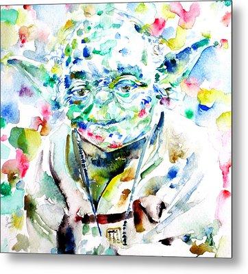 Yoda Watercolor Portrait.1 Metal Print by Fabrizio Cassetta