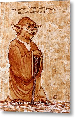 Metal Print featuring the painting Yoda Wisdom Original Coffee Painting by Georgeta Blanaru