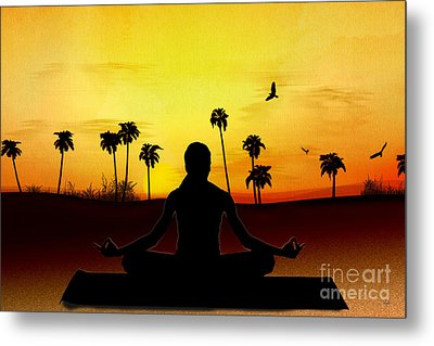 Yoga At Sunrise Metal Print by Bedros Awak