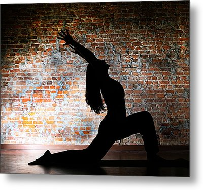 Yoga Silhouette 2 Metal Print by Shannon Beck-Coatney