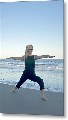 Yoga Woman On The Beach Metal Print