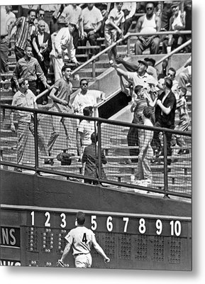 Yogi Berra Home Run Metal Print by Underwood Archives