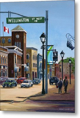 Metal Print featuring the painting Yonge And Wellington South Side    by Margit Sampogna
