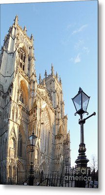 York Minster With Lampost Metal Print by Neil Finnemore