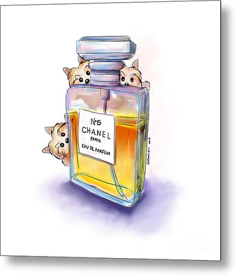 Yorkie Chanel Crazies Metal Print by Catia Cho