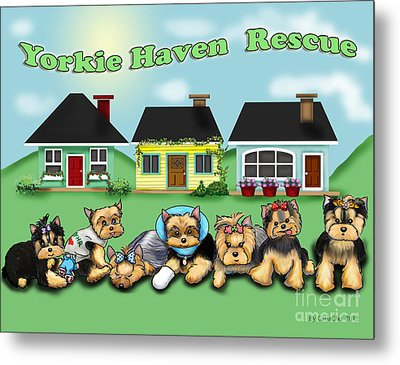 Yorkie Haven Rescue Metal Print by Catia Cho