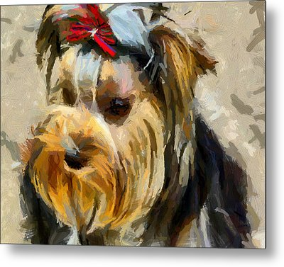 Metal Print featuring the painting Yorkshire Terrier by Georgi Dimitrov