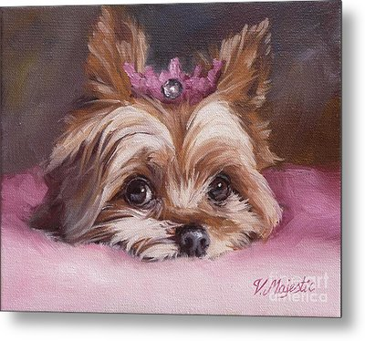 Yorkshire Terrier Princess In Pink Metal Print