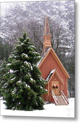 Yosemite Chapel In Winter Metal Print
