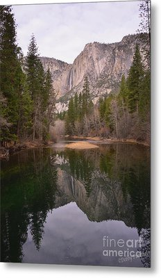 Yosemite Falls Reflection Metal Print by Debby Pueschel