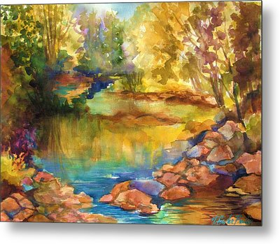 Yosemite Golden Trees On Still Waters Metal Print by Therese Fowler-Bailey