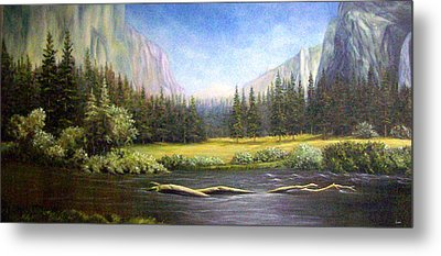 Metal Print featuring the painting Yosemite by Loxi Sibley