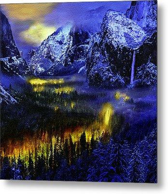 Yosemite Valley At Night Metal Print by Bob and Nadine Johnston