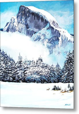 Metal Print featuring the painting Yosemite Winter by Al Brown