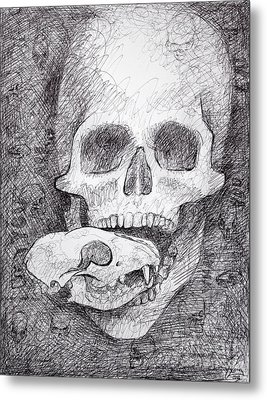 You Are What You Eat Skull Drawing Metal Print by Adam Long