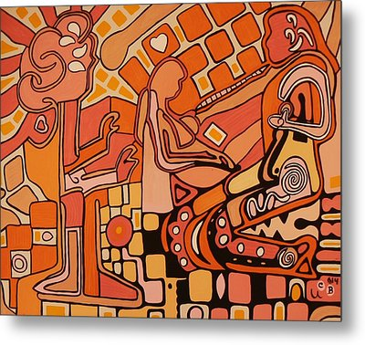 Metal Print featuring the painting You Me And The Machine by Barbara St Jean
