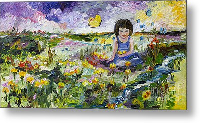 You Will Find Me By The Brook Where The Butterflies Live Metal Print by Ginette Callaway