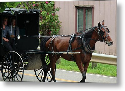 Young Amish Courtship Couple Metal Print