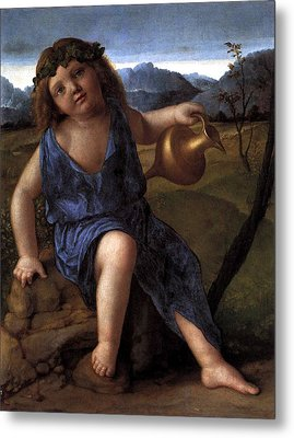 Metal Print featuring the painting Young Bacchus Dionysus Giovanni Bellini 1514 by Karon Melillo DeVega