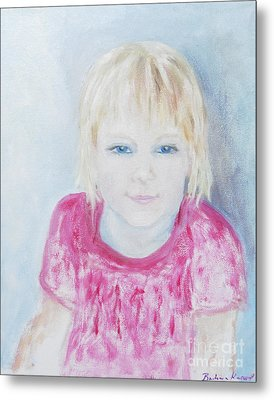 Young Blue-eyed Girl  Metal Print by Barbara Anna Knauf