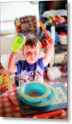Young Boy At The Dinner Table Metal Print by Samuel Ashfield