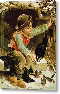 Young Boy With Birds In The Snow Metal Print