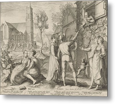 Young Couples Having Fun And Ignore The Warnings Metal Print by Jan Saenredam
