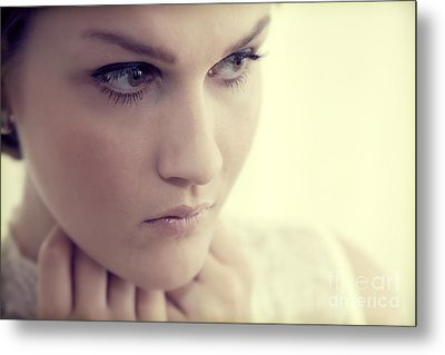 Young Elegant Woman In Glamour Fashion Metal Print by Michal Bednarek