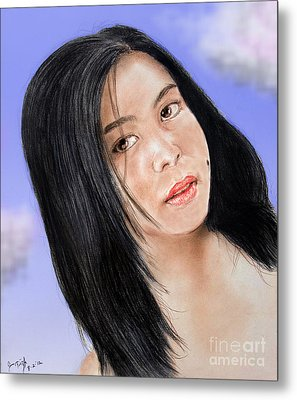 Young Filipina Beauty With A Mole Model Kaye Anne Toribio  Altered Version Metal Print