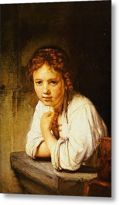 Young Girl At A Window Metal Print by Rembrandt