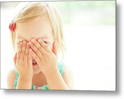 Young Girl Covering Face With Hands Metal Print by Ian Hooton