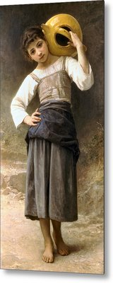 Young Girl Going To The Fountain Metal Print by William Bouguereau