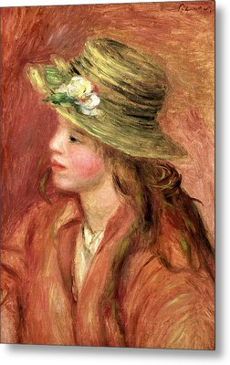 Young Girl In A Straw Hat Metal Print by Pierre Auguste Renoir