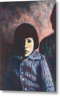 Young Girl In Blue Sweater Metal Print by Kendall Kessler