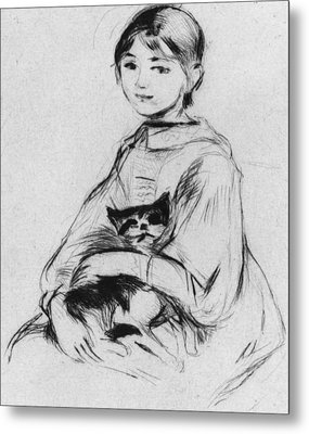 Young Girl With Cat Metal Print by Berthe Morisot