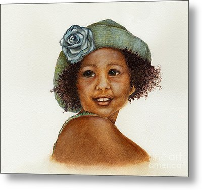 Young Girl With Straw Hat Metal Print