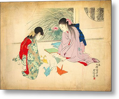 Young Girls Making Paper Cranes Metal Print