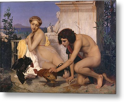 Young Greeks Attending A Cock Fight Metal Print by Jean Leon Gerome