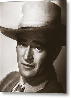 Young John Wayne Painting Traditional Metal Print by Tony Rubino